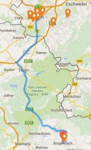 Berechnete Route: Hier von Aachen, Kaiserplatz bis Bütgenbach