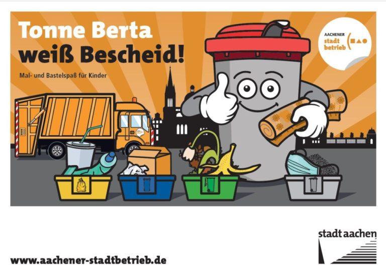 Stadtbetrieb Aachen: Mal- und Bastelbuch für Kinder mit Tonne Berta