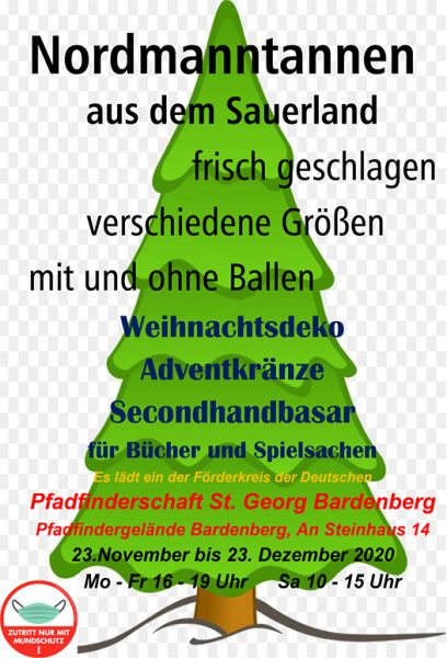 Second-Hand-Basar und Weihnachtsbaumverkauf