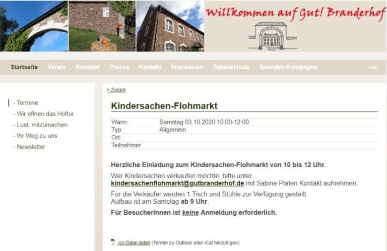 Kinderflohmarkt Gut Branderhof