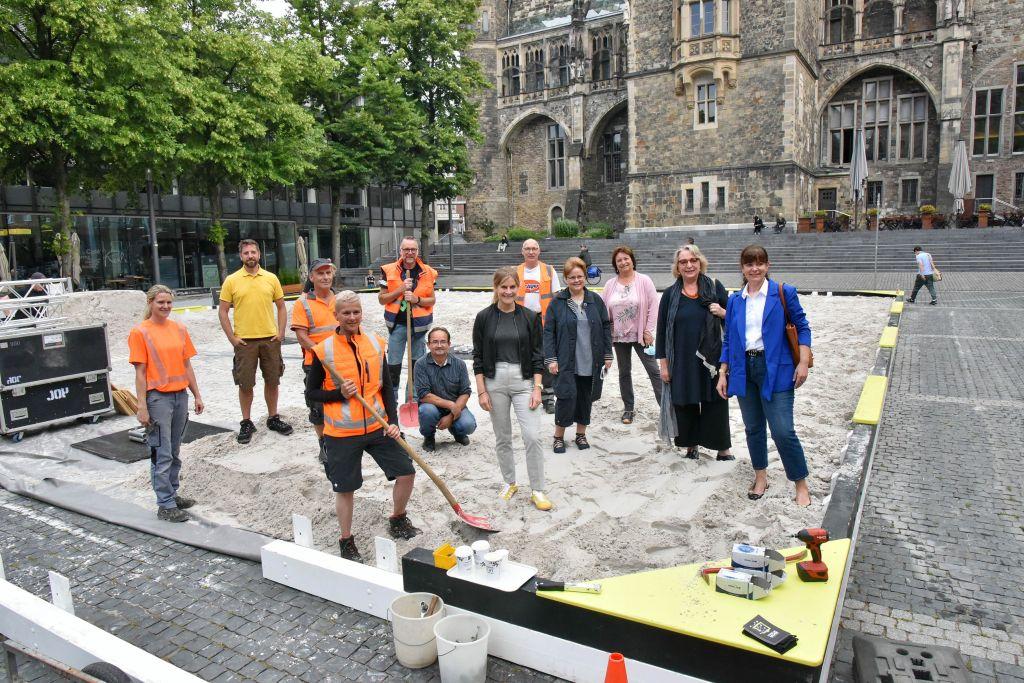 Fünf Wochen Buddelspaß: Der Archimedische Sandkasten ist aufgebaut